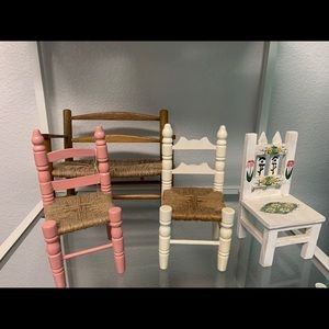 3 wooden doll chairs